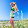 Stock Photo: Womin green sundress.