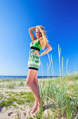 Woman in green sundress. — Stock Photo
