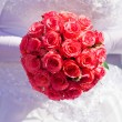 Bride with pink roses — Stock Photo