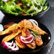 Stock Photo: Marinated chicken breast stripes with salad