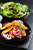 Marinated chicken breast stripes with salad — Stock Photo
