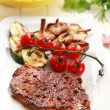 Beef steak with grilled vegetable - Stock Photo