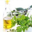 Herbs with olive oil - Stock Photo