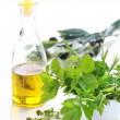 Herbs with olive oil — Stock Photo