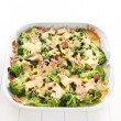 Baked broccoli with ham — Stock Photo
