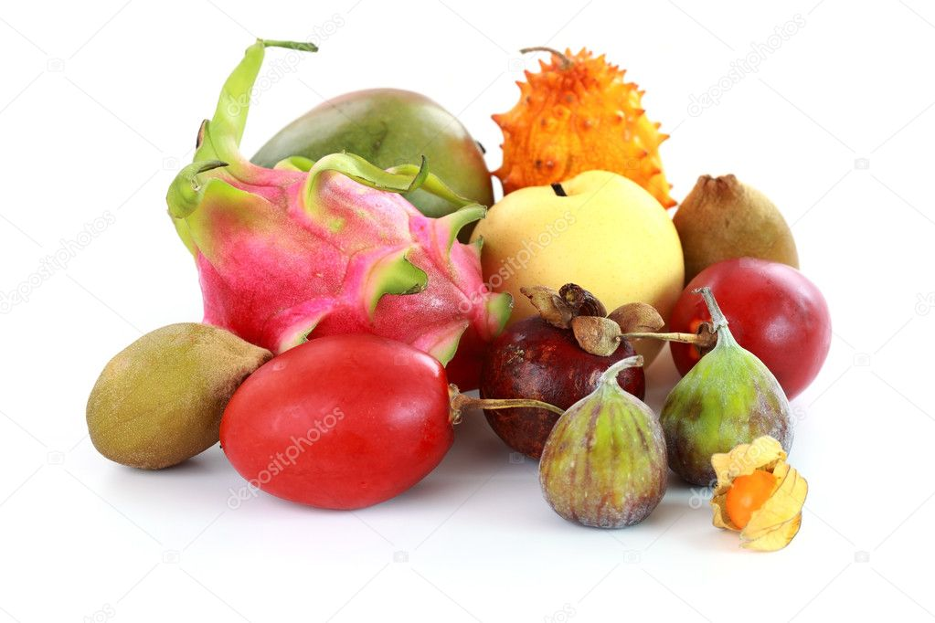 Exotic fruits - mangosteen, fig, mango, Asian pear, dragon fruit, horned melon, tamarillo — Stock Photo #11223053