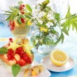 Summer refreshment with dessert fruit and lemonade — Stock Photo
