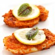 Breaded chicken schnitzel - Stock Photo