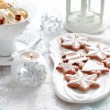 Gingerbread and walnut ice cream for Christmas — Stock Photo