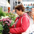 Senior woman in flower shop — Stock Photo