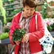 Senior woman in flower shop - Stockfoto