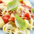 Stock Photo: Small tortellini with tomato sauce and cheese