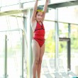 Child on diving board - Stockfoto