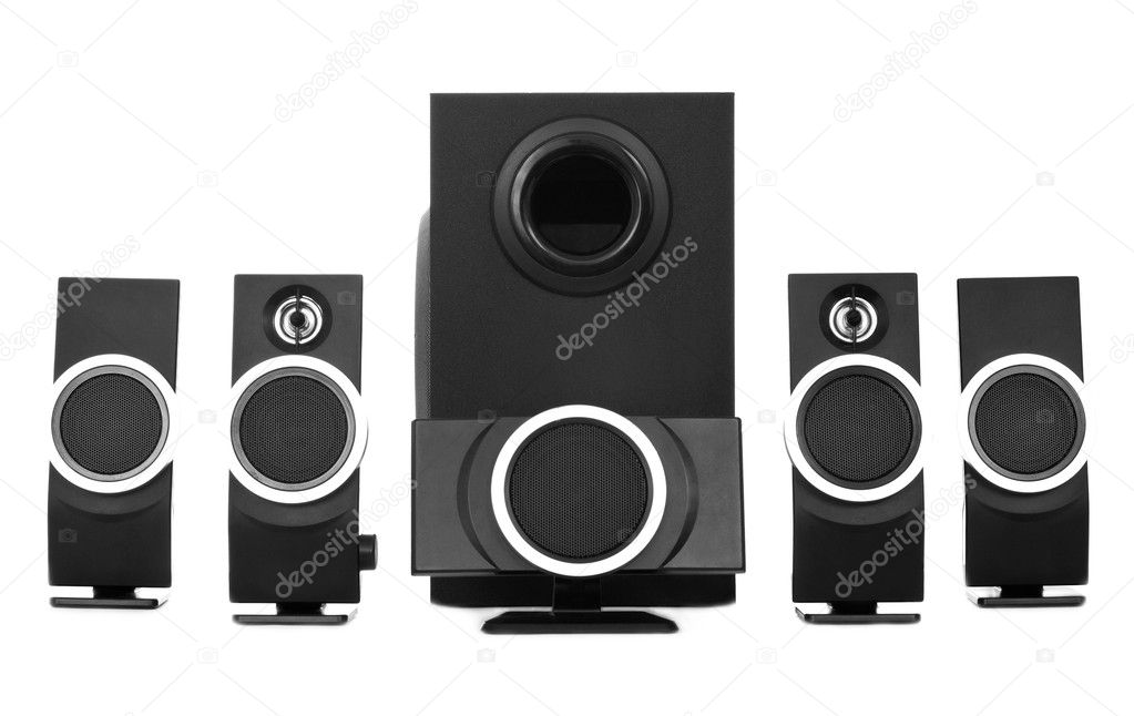 Loudspeaker isolated on white background closeup — Stock Photo #10802705