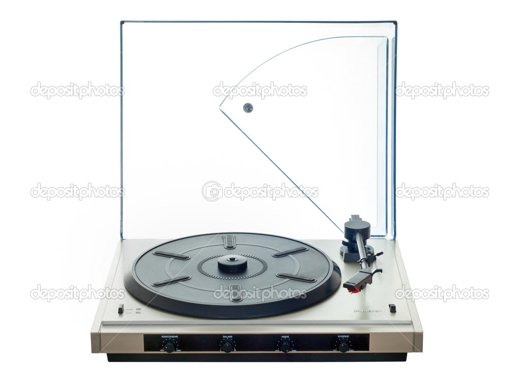 Isolated manual record player with clear plastic lid — Foto Stock #11275925