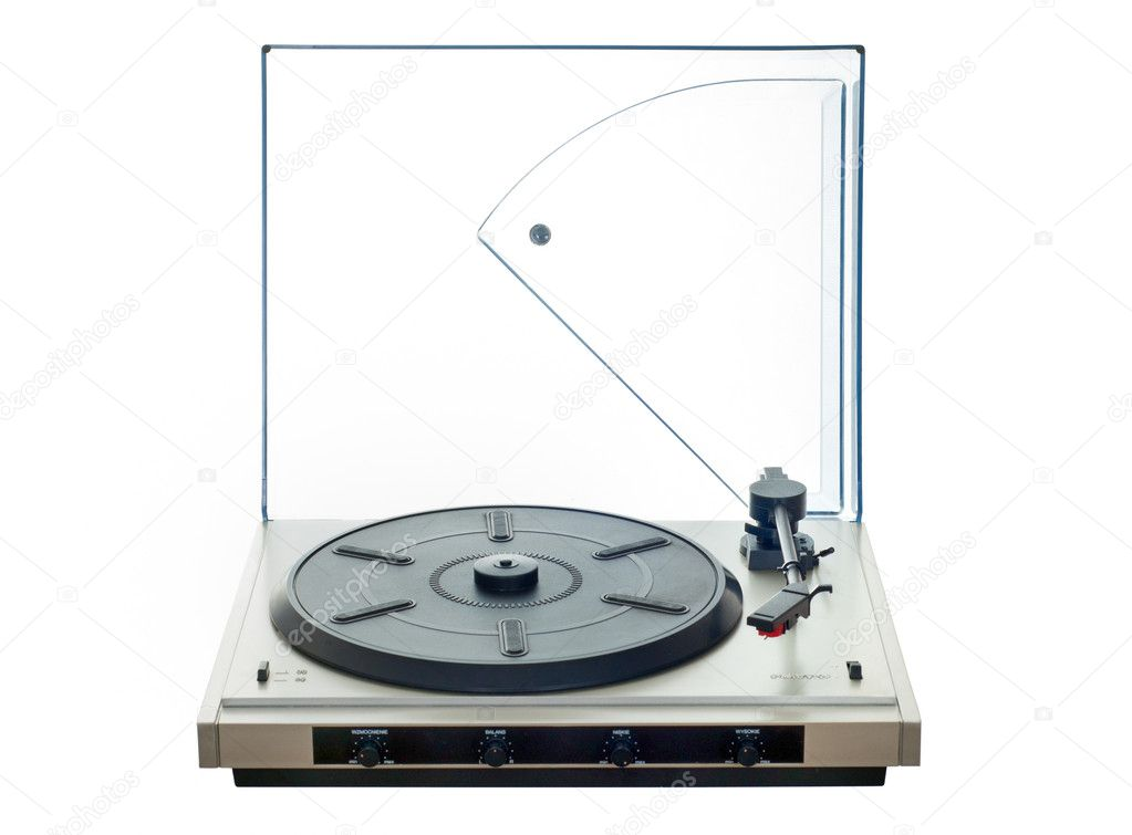 Isolated manual record player with clear plastic lid   #11275925