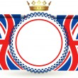 Union jack flags crown and rosette — Image vectorielle