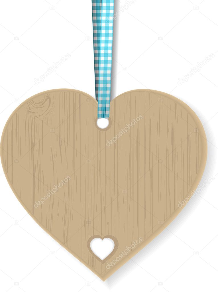 Wooden heart hanging from a gingham ribbon — Stock Vector #10818228