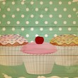 Royalty-Free Stock Vector Image: Retro cupcakes on wood