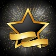 Black and gold star and banner background — 图库矢量图片