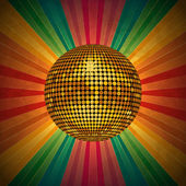 Disco ball and retro rainbow star burst — Stock Vector