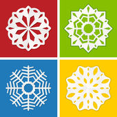 Paper snowflake set — Stock Vector