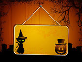 Halloween sign on wood — Stock Vector