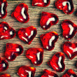 Red glass hearts background — Foto de Stock