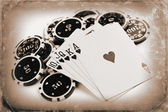 Vintage poker concept — Stock Photo
