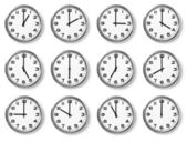 Set of wall clocks — Stockfoto
