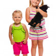 Two sister with kitty — Stock Photo #11637557