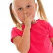 Little girl picking her nose — Stock Photo #11637593