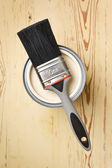 Paint brush and tin can — Stock Photo