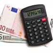 Calculator and euro currency — Stock Photo