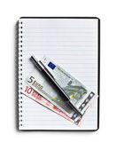 Euro currency and pen on blank notebook — Stock Photo