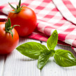 Fresh basil leaves and tomatoes — Foto de Stock