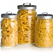 Various raw pasta in glass jar — Stock Photo #12293435