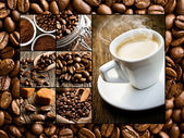 Collage van verschillende koffie motieven — Stockfoto