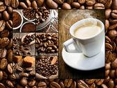 Kolaż różnych motywów kawy — Zdjęcie stockowe