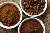 Coffee beans, ground coffee and instant coffee — 图库照片