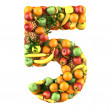 Number five made from 3d fruits — Stock Photo