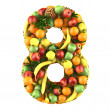 Number eight made from 3d fruits. — 图库照片