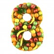 Number eight made from 3d fruits. — Stock Photo