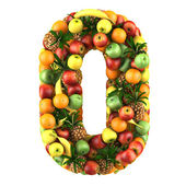 Number zero made from 3d fruits. — Stock Photo