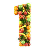Number one made from 3d fruits. — Stock Photo