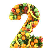 Number two made from 3d fruits. — Stock Photo
