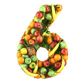 Number six made from 3d fruits. — Stock Photo