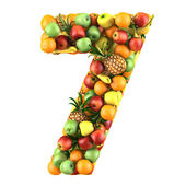 Number seven made from 3d fruits. — Stock Photo
