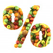 Percentage symbol made from 3d fruits. — Stock Photo