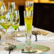 Stylish dining table arrangement close up - Stock Photo